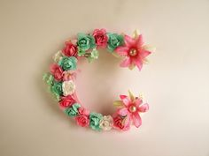 Custom Name Letter C Pink Flower Fl E Wedding Decor Nursery Wall