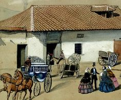 History, City, Design, Colombia, 19th Century, Entryway, Water Colors, Paintings, Historia