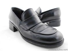 "Womens shoes BASS ""Jodi"" ITALY Black LEATHER Low heel Slip-on moc round-toe 8 M"
