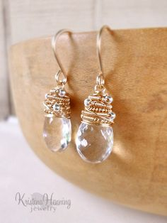 Clear gemstone drop earrings in 14k gold fill and sterling silver - Kristina Henning Jewelry