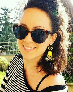 La primavera è alle porte  #soutache #soutachejewelry #selenkhloejewelry #handmade #jewelrydesigner #hashtag #instalike #instacool #instalike #earrings #jellow #black #green