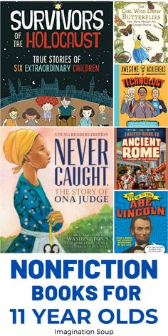 11 year old readers in grade are transitioning into more nonfiction books. Here's a list of nonfiction books perfect for grade. Good Books, Books To Read, Ya Books, 6th Grade Reading, Book Background, Sixth Grade, Seventh Grade, Chapter Books, Biographies