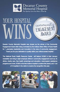 DCMH is 1 out of 5 hospitals in the nation to receive the Community Engagement Award presented by the National Rural Health Resource Center and the first Indiana hospital to ever receive this award! #DCMHgreensburg #YourHospital
