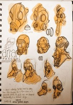 """ day designs of gas masks inspired by this list of steampunk gas masks. Steampunk Gas Mask, Steampunk Drawing, Arte Steampunk, Design Reference, Drawing Reference, Art Sketches, Art Drawings, Poses References, Drawing Clothes"