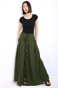 Buttoned Linen Skirt - Army Green Casual Everyday Maxi Length Long Spring Summer Skirt with Drawstring Waist Plus Size Clothing (C324)