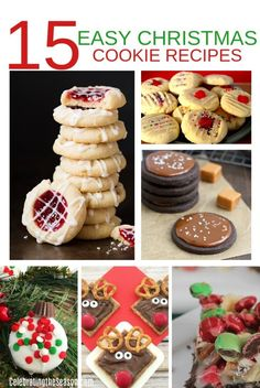 15 Easy Christmas Cookie Recipes - Celebrating the Season Easy Christmas Cookie Recipes, Christmas Cookie Exchange, Easy Cookie Recipes, Christmas Desserts, Christmas Treats, Christmas Cookies, Dessert Recipes, Bar Recipes, Graham Cookies
