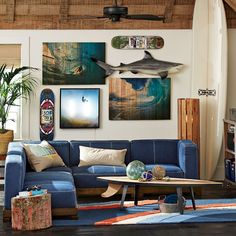 Cushy Lounge Super Sectional Set Love the wood cylinder light in the corner and the beachy vibe!