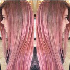 Brown hair w/ pink highlights