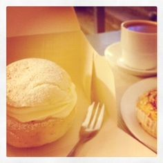 Fika time at Vetekatten in Stockholm ~ a gluten-free semla ~ heavely bun with almond and whipped cream