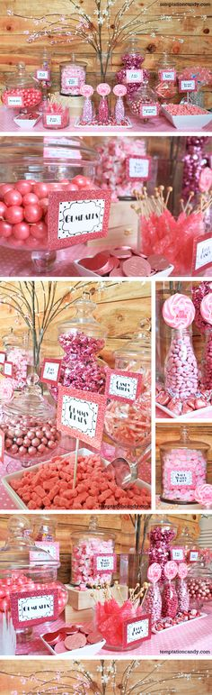 Pink It's  A Girl Baby Shower Candy Buffet