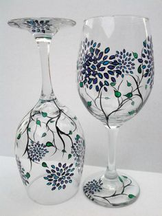 Hand Painted Wine Glasses by TheScarletLine on Etsy, $40.00
