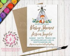 Woodland Teepee Fox Baby Boy Shower Birthday Party Printable Invite Invitation
