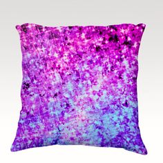RADIANT ORCHID Fine Art Velveteen Throw Pillow Cover, Ombre Sparkle Galactic Galaxy Space Stars Night Sky Decorative Home Decor Cosmic Cosmos Colorful Fine Art Toss Cushion, Modern Bedroom Bedding Dorm Room Living Room Style Accessories  by EbiEmporium, $75.00