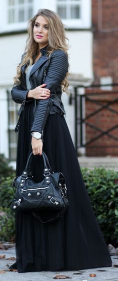 black, floor, length, maxi, skirt, outfitshunter, pinned