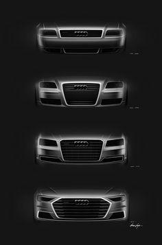 Evolution of Audi face. Sketches by Amar Vaya Audi A8, Audi Quattro, Audi A5 Coupe, Car Design Sketch, Car Sketch, Carros Audi, Automobile, Mercedez Benz, Audi Sport