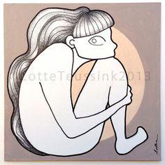 SITTING GIRL original drawing by Lotte Teussink - collectors item - unique artwork  - illustration beige - black and white art pencil #illustrationprints #bestofEtsy