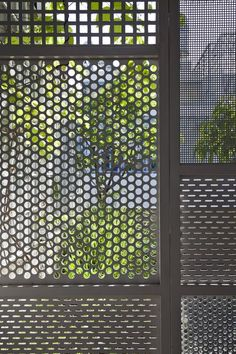 Tucked in a dense urban environment, the aptly named House has a teeny tiny footprint of only 3 by 10 square meters. Vietnamese architecture firm DD concept worked around the spatial constraints by vertically stacking multiple volumes. Metal Facade, Metal Gates, Metal Screen, Gate Design, Facade Design, House Design, Garde Corps Metal, Metal Grill, Perforated Metal
