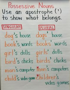 Anchor chart for possessive nouns