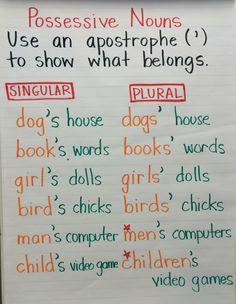 Anchor chart for possessive nouns