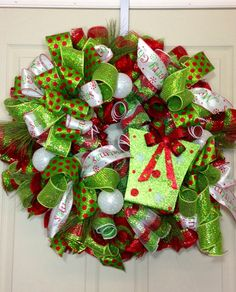 Christmas Mesh Wreath on Etsy, $95.00