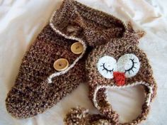 Baby Hats Newborn Baby Owl Hat and Cocoon.