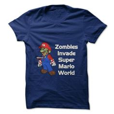 Zombies Invade Super Mario World - #groomsmen gift #couple gift. CHEAP PRICE => https://www.sunfrog.com/Gamer/Zombies-Invade-Super-Mario-World-58670700-Guys.html?68278