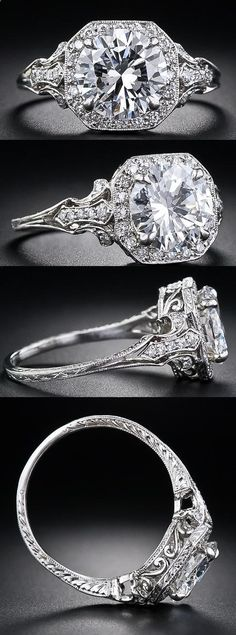 2.17 Carat  D color diamond Edwardian style engagement ring at Lang Antiques.