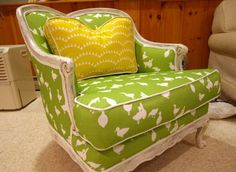 An idea of green and yellow together... not crazy about pattern; I like the white-washed wood look though.