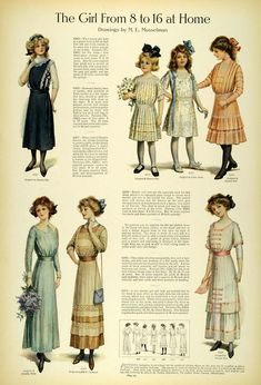 Amazon.com: 1911 Article Edwardian Fashion Children School Clothes Girls Dresses Accessories - Original Print Article: Home & Kitchen