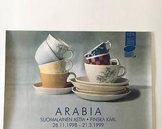 Collectable/ original vintage Arabia exhibition poster 28.11.1998-21.3.1999, made in Finland