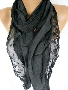 BIG SALE  Trend scarfNew Elegant Black ScarfGift by MebaDesign, $9.90