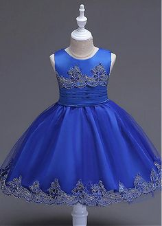 Ball Gown Short / Mini Flower Girl Dress - Satin Tulle Jewel with Beading Bow(s) Embroidery Pearl Detailing Sash / Ribbon Girls Dresses, Flower Girl Dresses, Princess Dresses, Party Dresses, Satin Tulle, Baby Dress, Doll Clothes, Ball Gowns, Kids Outfits