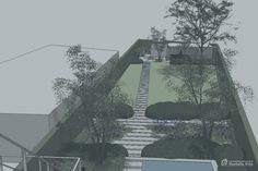 Laat je tuin ontwerpen door Tuinonderneming Monbaliu - Lange stadstuin met diverse hoogte verschillen
