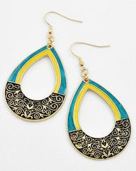 Cleopatra Gold and Turquoise Statement Earrings-$21-Find hot fashion jewellery and statement jewlry at Strike Envy. #jewellery #jewlry