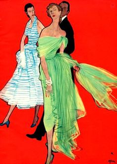 Evening dresses by Christian Dior illustrated by Rene Gruau, 1948