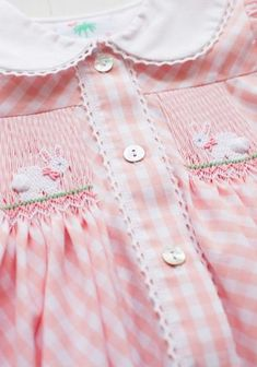 Bringing every girl and boy baskets full of Easter joy! Our Bun Bun collection will have your little ones dressed and ready to catch a glimpse of Peter Cottontail hopping down the bunny trail! The Bun Bun Smocked Dress in pink gingham has a sweet, custom Smocking Baby, Smocking Plates, Smocking Patterns, Dress Patterns, Smocking Tutorial, Coat Patterns, Sewing Patterns, Pink Gingham, Gingham Dress