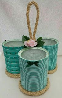 Latas de leite podem ser usadas para decorar e organizar - Tin Can Crafts, Jar Crafts, Bottle Crafts, Arts And Crafts, Recycled Tin Cans, Recycled Crafts, Rope Crafts, Diy Home Crafts, Tin Can Art