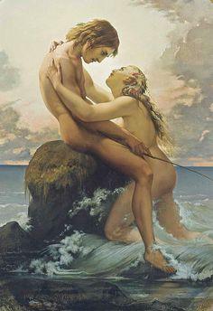 Karl-Henri-Rodolphe-Heinrich Salem, said Henri Lehmann (1814 - 1882) - The nymph and the fisherman
