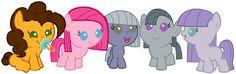 My little pony fillies - cheese sandwhich, pinkie pie, mudrock pie, marble pie, and maud pie. My Little Pony Baby, My Little Pony Friendship, Pinkie Pie, Cartoon Video Games, Side Pony, Nightmare Moon, Imagenes My Little Pony, Little Poney, Smurfs