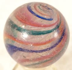 "Old Antique German Latticino Swirl Ribbon Glass Marble 1.5"" Wide...Inner Tornado"