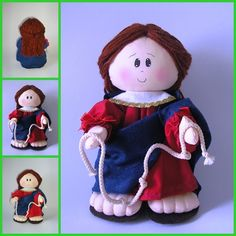 Nossa Senhora Desatadora de Nos Crafts To Sell, Teddy Bear, Christmas Ornaments, Disney Princess, Disney Characters, Holiday Decor, Fabric, Diy, Animals
