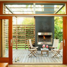 Build a Screen...to Make Your Deck More Private...While an outdoor fireplace is this deck's focal point, it's the simple privacy screen that makes the biggest difference. Even though the screen doesn't completely block the view, it provides enough protection to make the deck more enjoyable.