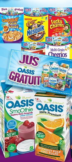 Oasis, Quebec, Coupons, Cereal, Projects To Try, Scrapbook, Food, Free Samples, Smoothie