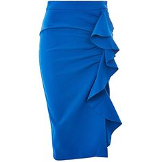 Topshop Ruffle Crepe Midi Skirt ($54) ❤ liked on Polyvore featuring skirts, topshop, cobalt, party skirts, fitted skirts, fitted midi skirt, cobalt blue skirt and flounce skirt