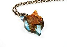 Wooden necklace with resin blue fox Resin Wood Fox