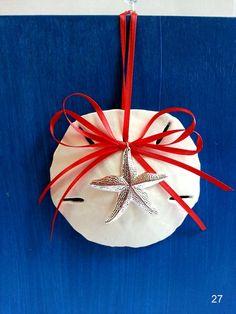 Sand dollar Christmas ornaments, beach ornament with silver starfish tree decoration