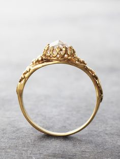 14K Gold Ice Castle Crown Ring - Moissanite -- what an awesome design!!! Love it.