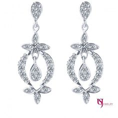 0.30 Carat Feminine Diamond Encrusted Dangle Earrings Round Cut 14k White Gold