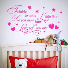 Good Price of twinkle twinkle little star lettering words love kids boys girls children bedroom baby nursery vinyl wall stickers art Price D. Nursery Wall Stickers, Wall Stickers Home Decor, Vinyl Wall Stickers, Nursery Art, Kids Room Wall Stickers, Baby Room Wall Decor, Star Wall, Twinkle Twinkle Little Star, Star Children