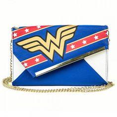 """DC Comics Wonder Woman Gold Logo Stars Blue Envelope Wallet Purse 48"""" Chain"""